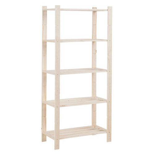 Estantería de madera en kit de pino de 40x75 cm y carga max. 50 kg por balda