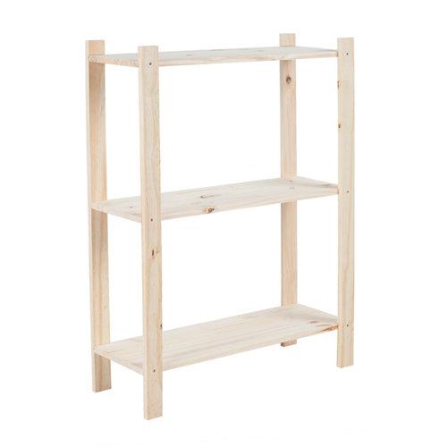 Estantería de madera en kit de pino de 28x65 cm y carga max. 50 kg por balda