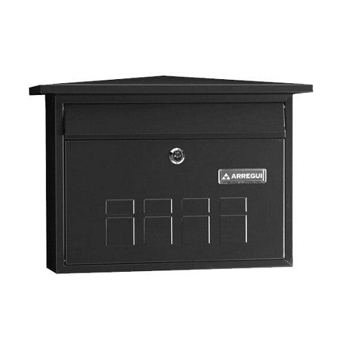 Buzón de acero en negro de 27.5x41x10 cm