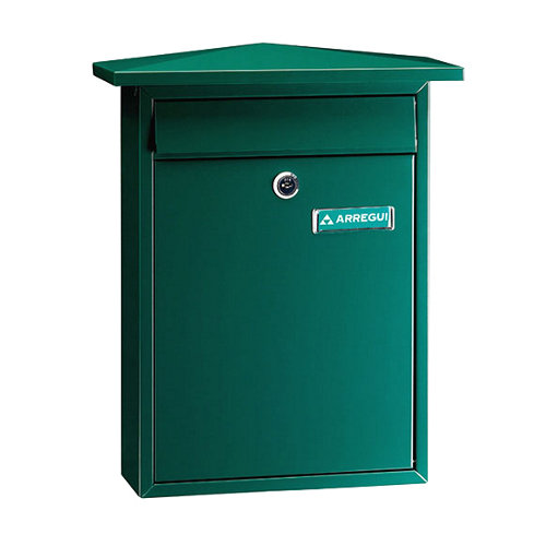 Buzón de acero en verde de 38.5x31x10 cm