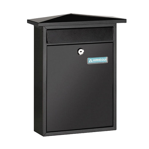 Buzón de acero en negro de 38.5x31x10 cm