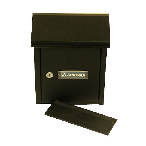 Buzón de acero en negro de 30x26.5x14.5 cm