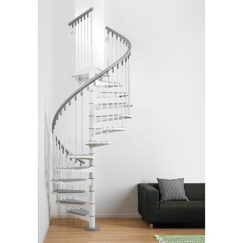 Escalera de caracol steel circular uso interior diametro 160cm blanco/gris