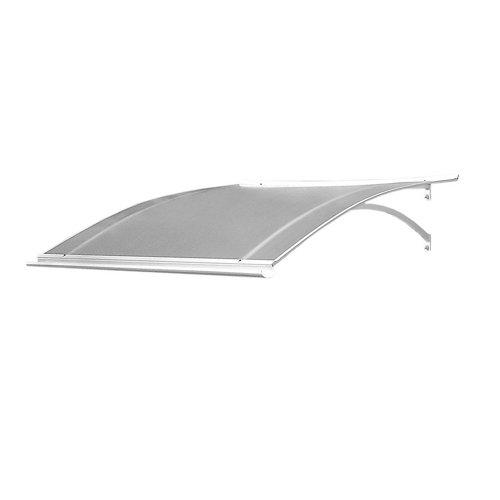 Marquesina laurus de aluminio blanco y cubierta transparente de 160x28x87 cm