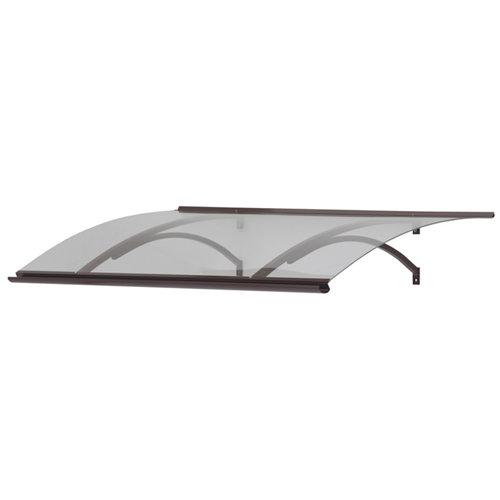 Marquesina de aluminio marrón y cubierta de acrílico blanco 25x160 cm