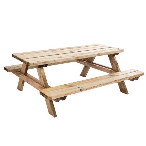 Mesa de jardín de comedor de madera maciza matisse neutro de 166x70.7x180 cm