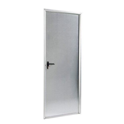 Puerta de servicio derecha acero galvanizado/acero galvanizado de 200x79 cm