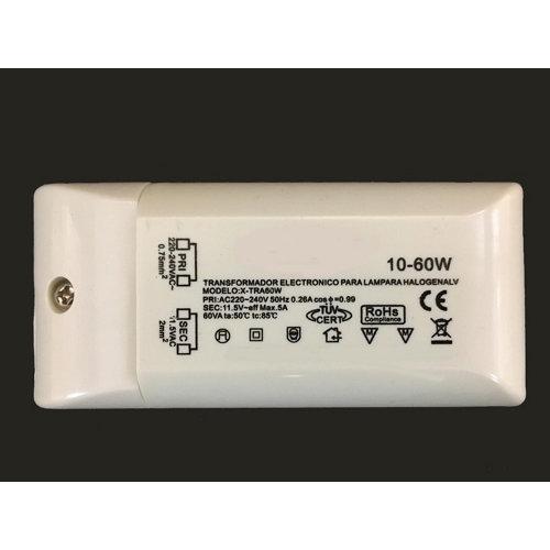 Transformador electrónico 220v/12v de 20 a 60 watios