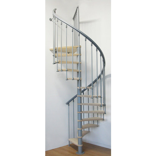 Escalera de caracol nice circular uso interior diametro 130cm gris/haya