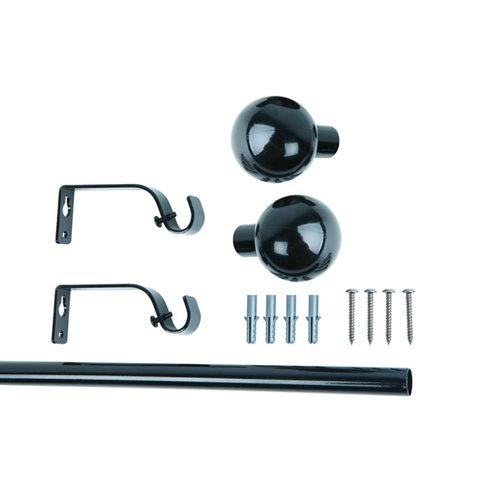 Kit metálico de fijación barra de 1,8 m bola negro