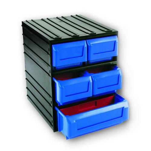 Organizador de tornillos de plástico con 5 cajones de 32.1x24.5x29.1 cm