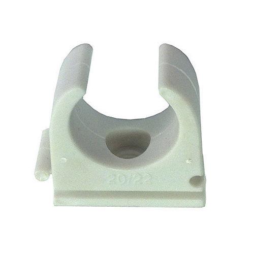 Bolsa de 10 grapas clip lexman blancas para tubo de 20 mm