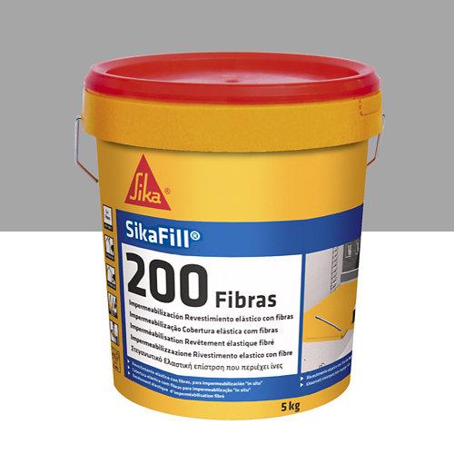 Impermeablizante sikafill 200 fibras gris de 5 kg