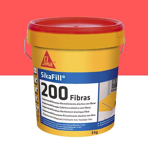 Impermeabilizante sikafill 200 fibras rojo de 5 kg