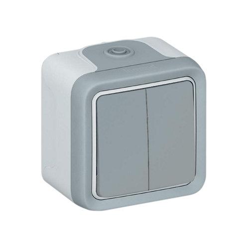 Interruptor doble legrand plexo gris