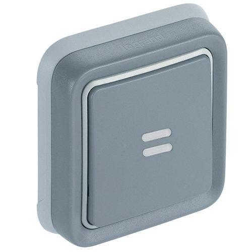 Pulsador con luz de empotrar legrand plexo gris