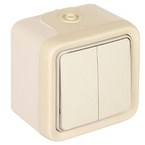 Interruptor/conmutador doble legrand plexo blanco