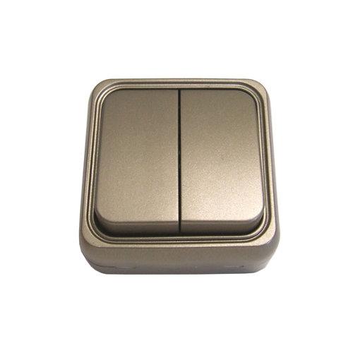 Interruptor doble fontini bf-18 bronce