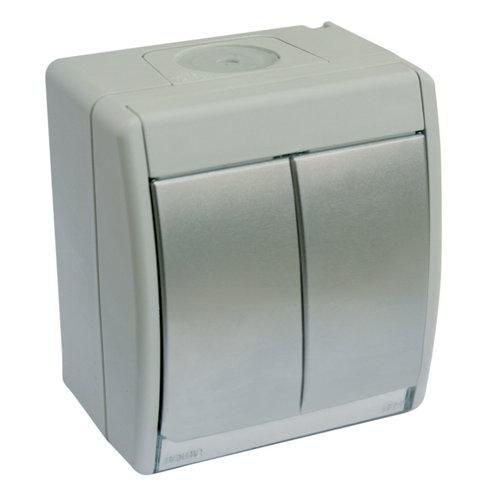 Interruptor doble simon aqua aluminio