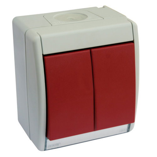 Interruptor doble simon aqua rojo