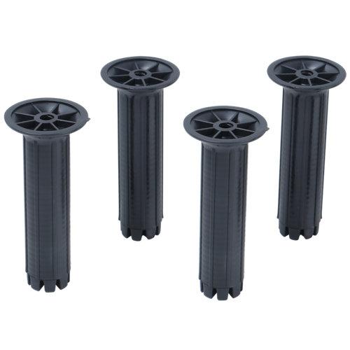 4 patas regulables para mueble hasta 20 cm de plástico negro