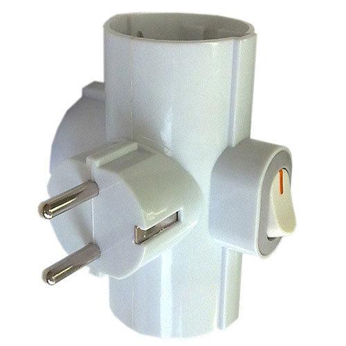 Ladrón de 3 enchufes ceese blanco 16a con interruptor