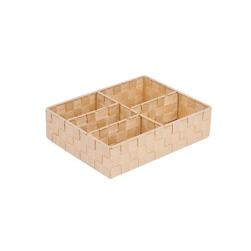 Caja de compartimentos organizadores beige 25x8 cm