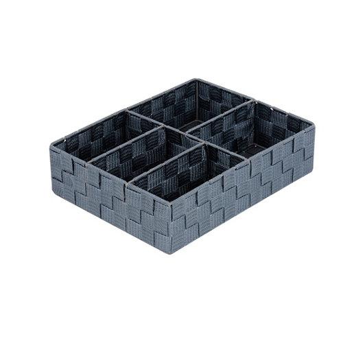Caja de compartimentos cestas gris / plata14.8x4.7 cm
