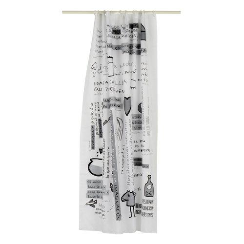 Cortina de baño idea gris poliéster 180x200 cm