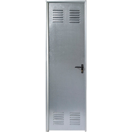 Puerta de servicio izquierda acero galvanizado/acero galvanizado de 200x79 cm