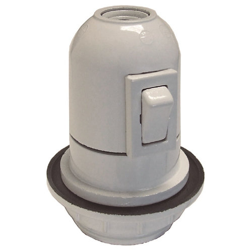 Casquillo e-27 fontini blanco con interruptor