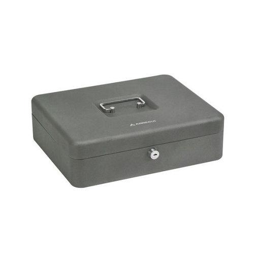 Caja de caudales en acero gris / plata de 30x9x24 cm