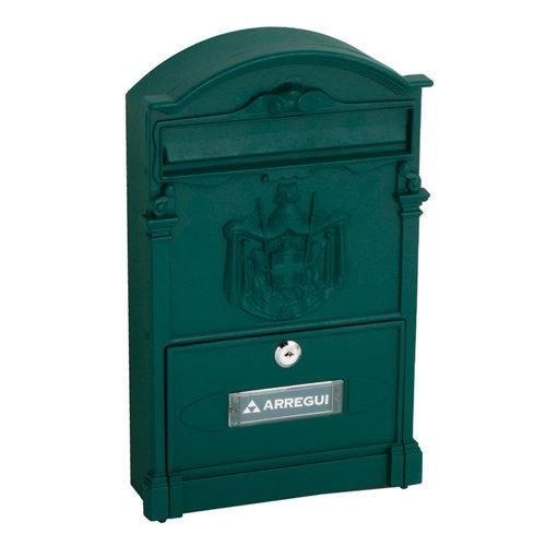Buzón de aluminio en verde de 42x26x10 cm