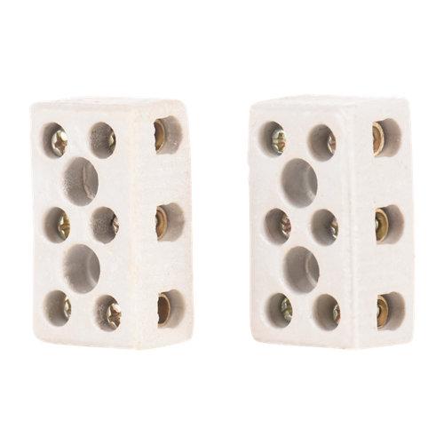 Regleta de conexiones cerámicas de 3 entradas hasta 6 mm²