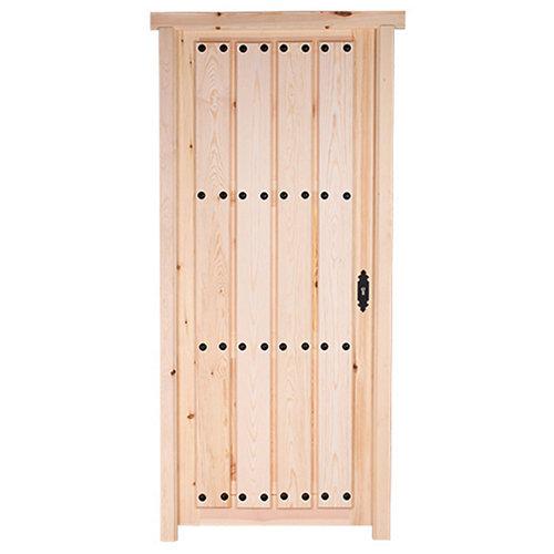 Puerta de madera de pino para barnizar izquierda de 95x210