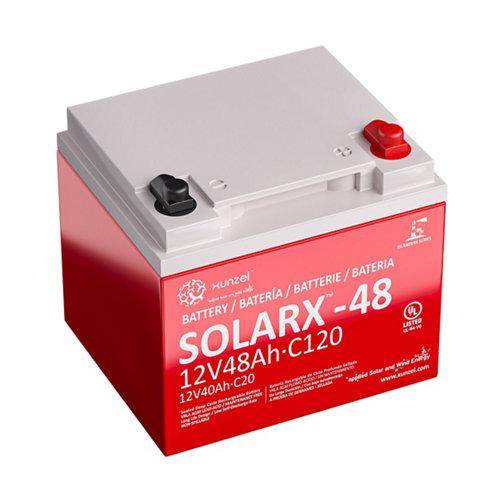 Batería solar solarx-48 xunzel 12v de larga duración, sellada, sin mantenimiento
