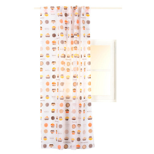 Visillo biscuit con motivo vegetal marrón de 140 x 220 cm