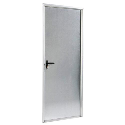 Puerta de servicio derecha acero galvanizado/acero galvanizado de 200x89 cm