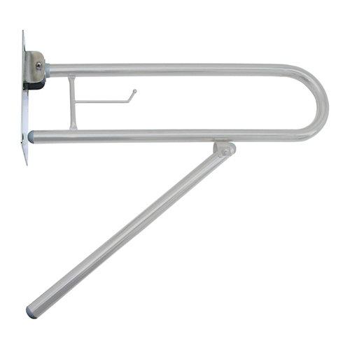 barra abatible con pata al suelo para wc gris / plata 73x15 x cm