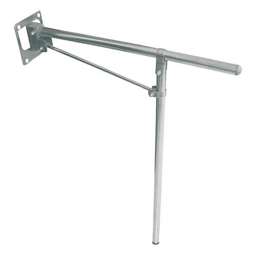 barra abatible con pata al suelo para wc gris / plata 73x x cm