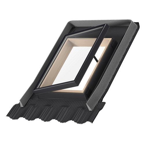 Tragaluz de tejado manual de madera lateral de 55x45 cm