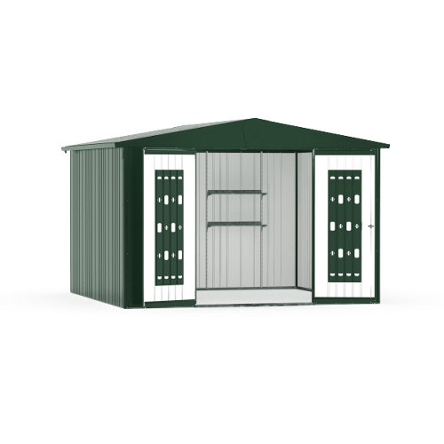Caseta de metal europa verde de 316x209x300 cm y 9.48 m2