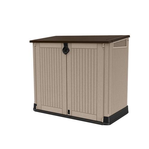 Arcón de exterior de resina wood land midi 130x110x74 cm