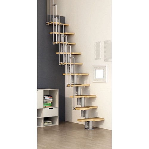 Escalera de paso japones step one uso interior ancho total 60cm cromo/haya