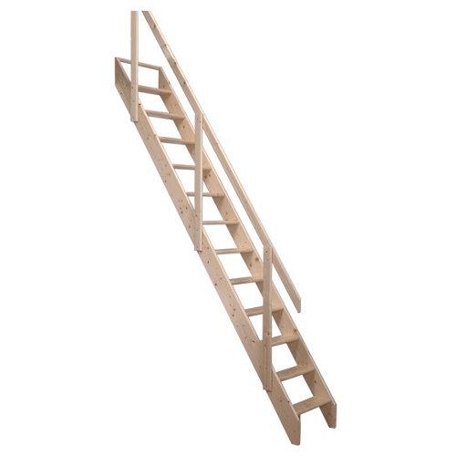 Escalera recta molinero uso interior ancho total 60cm acabado pino sin barnizar