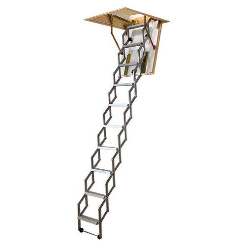Escalera escamoteable tijera mini aluminio medida cajon pino aislado 70x60cm