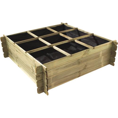 Huerto de suelo de madera basil 140x140x40 cm
