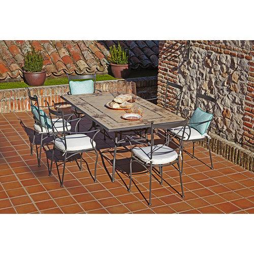 Conjunto de muebles de exterior córdoba de acero para 6 comensales