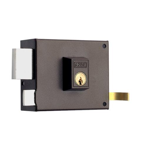 Cerradura de sobreponer de 80 mm de caja y mm de entrada marrón