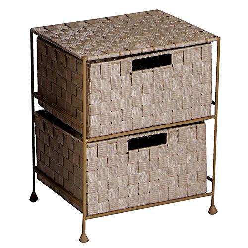 Carrito de baño con 2 cajones beige de 44x29x35 cm